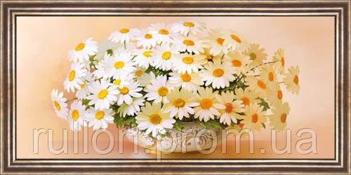 Картина YS-Art CA077-23 Ромашки в вазоне 33x70 (Натюрморт, коричневая рамка)