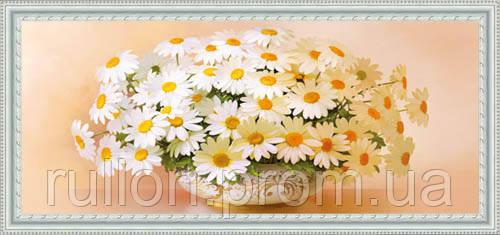 Картина YS-Art CA077-53 Ромашки в вазоне 33x70 (Натюрморт, белая рамка)