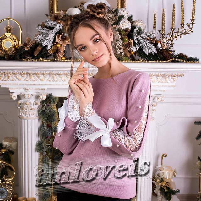 Теплый свитшот для девочек Lizy пудра Размеры 140-170