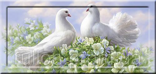 Картина YS-Art CA122-14 Два голубя в цветах 33x70 (Пейзаж, с дорисовкой на рамке)