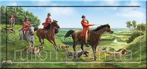 Картина YS-Art CA127-13 Люди, кони, собаки 33x70 (Пейзаж, с дорисовкой на раме)