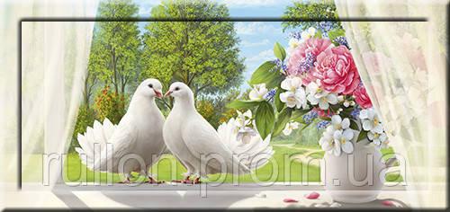 Картина YS-Art CA129-13 два белых голубя и цветы 33x70 (Пейзаж, с дорисовкой на рамке)