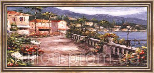 Картина YS-Art CA150-23 Терраса на берегу 33x70 (Пейзаж, коричневая рамка)