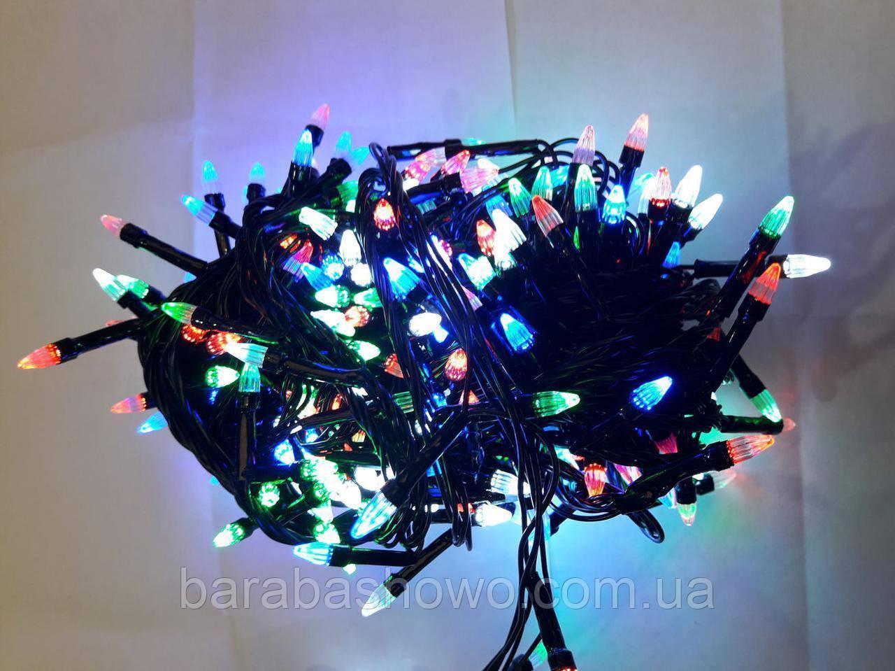 """Гірлянда """"Ялинка"""" 100 LED на чорному проводі різнокольорова"""