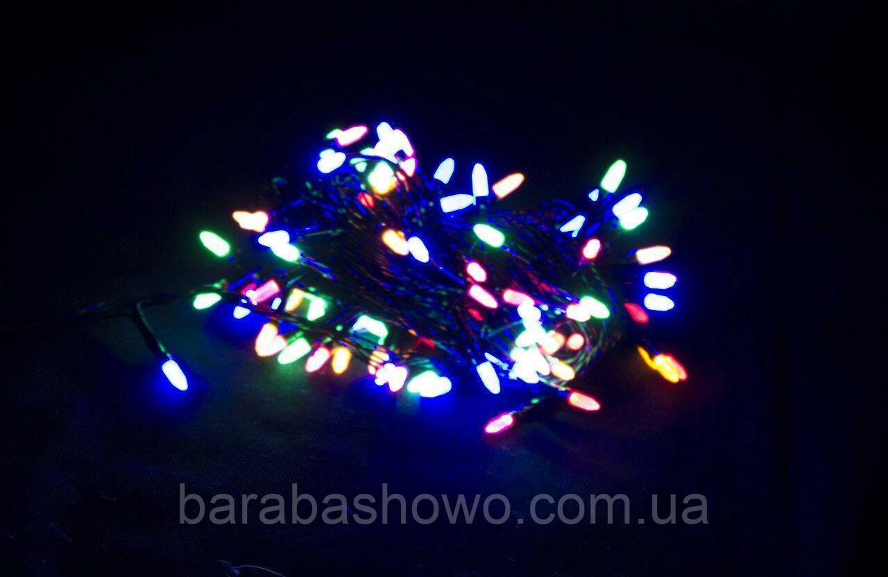 Гірлянда 300 LED ГОЛКА (РИС) на чорному проводі 5mm, різного кольору
