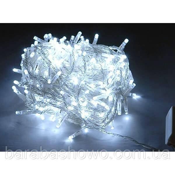 Гірлянда 300 LED 5mm, на прозорому проводі, Біла
