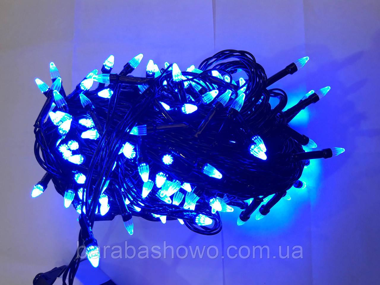 Гирлянда ЕЛКА 200 LED на черном проводе, синяя
