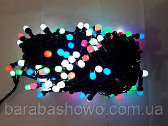 Гирлянда  ЯГОДА  300 LED 8mm на черном проводе, разноцветная