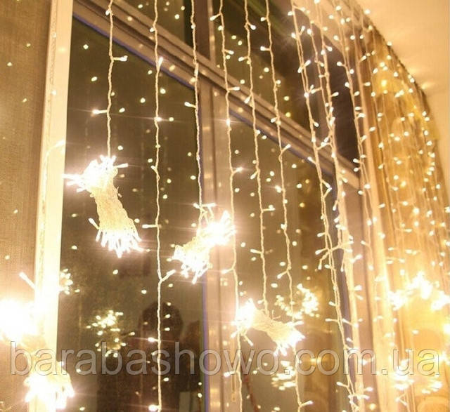 Гирлянда Штора (занавеска) 320 LED-5mm,  3m/2m тепло-белая