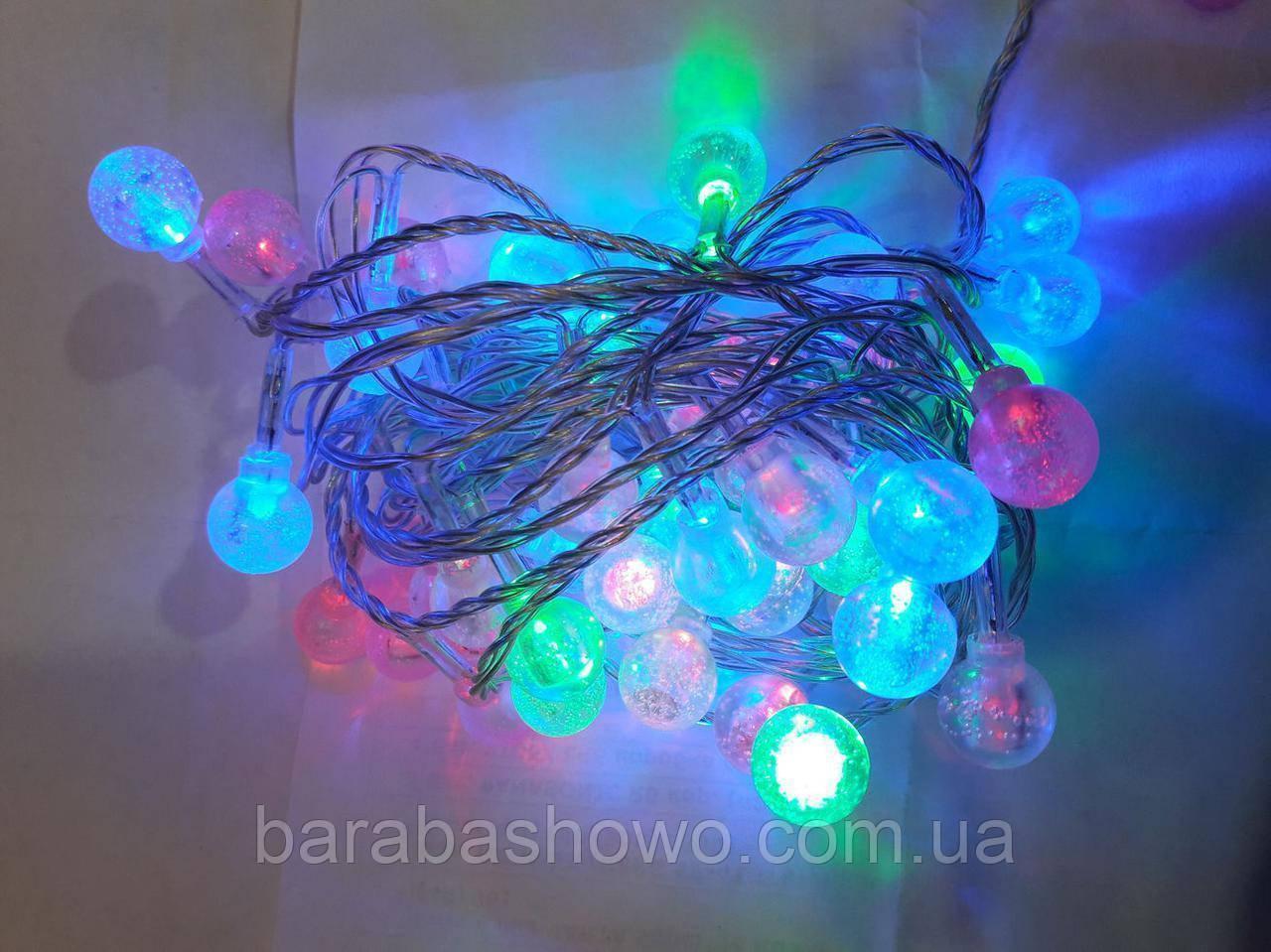Гирлянда ФИГУРКИ (шарик прозрачный) 40 LED на черном проводе