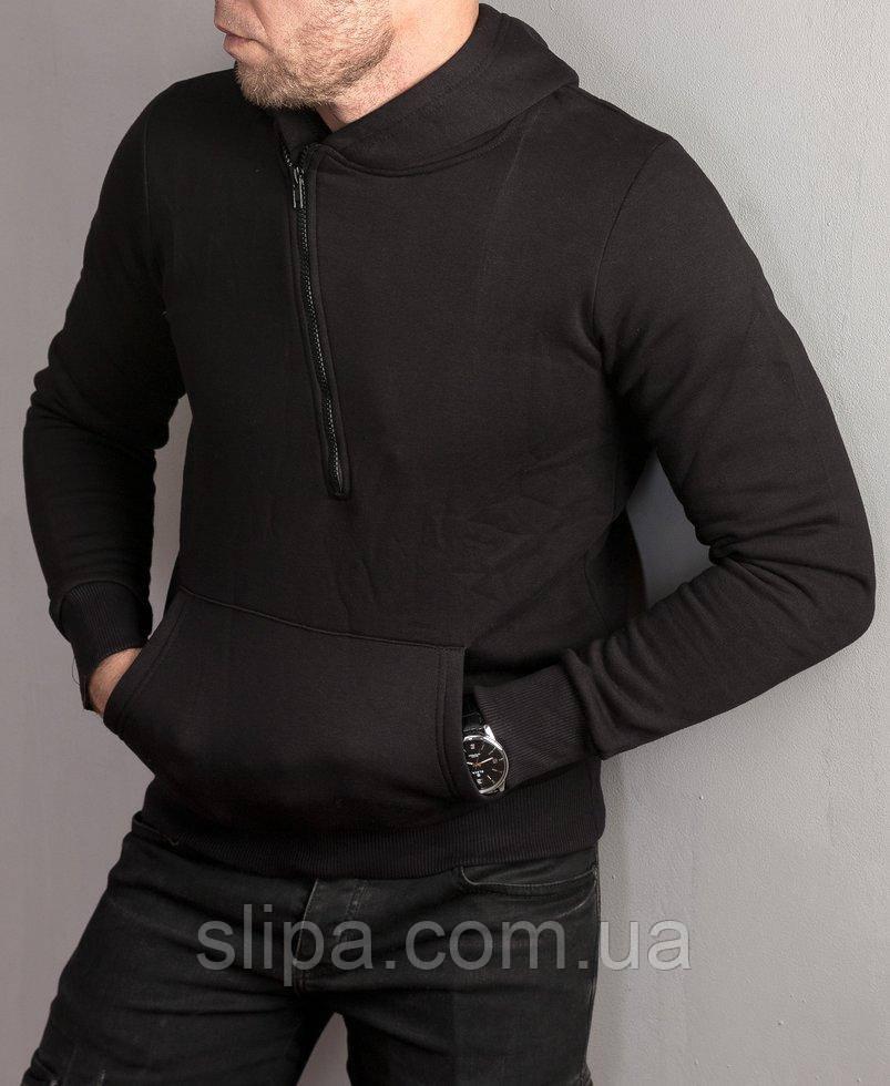 Чоловіча тепла толстовка з косою блискавкою , чорного кольору