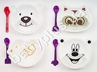 Набор посуды пластмассовый для малышей (двухсекционная тарелка с крышкой в форме животного и ложка)