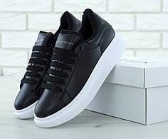 Женские кроссовки Alexander McQueen Oversized Sneakers Black  Winter. ТОП Реплика ААА класса.