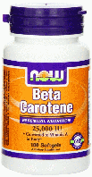 Бета-Каротин, Витамин А, Now Foods, Beta Carotene, 25000 IU 100 Softgels