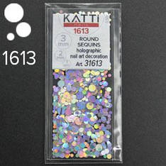 KATTi Блестки в пакете 1613 серебро мульти голографик круглые микс 1-2-3мм