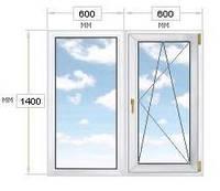 Окно ПВХ из 2-х частей, 1200х1400, REHAU-60.