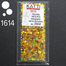 KATTi Блестки в пакете 1614 оранж-золото мульти голографик круглые микс 1-2-3мм
