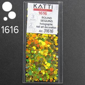 KATTi Блестки в пакете 1616 золото мульти голографик круглые микс 1-2-3мм