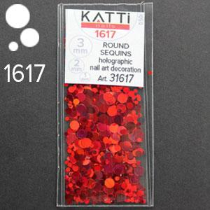 KATTi Блестки в пакете 1617 красные мульти голографик круглые микс 1-2-3мм