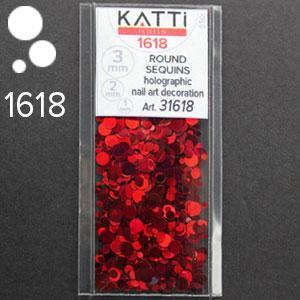 KATTi Блестки в пакете 1618 темно красные мульти голографик круглые микс 1-2-3мм