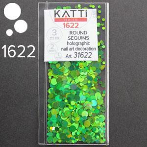 KATTi Блестки в пакете 1622 зеленые изумрудные мульти голографик круглые микс 1-2-3мм