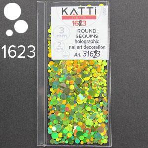 KATTi Блестки в пакете 1623 салатовые мульти голографик круглые микс 1-2-3мм