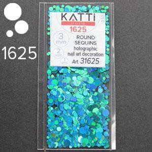 KATTi Блестки в пакете 1625 бирюзово морские мульти голографик круглые микс 1-2-3мм, фото 2