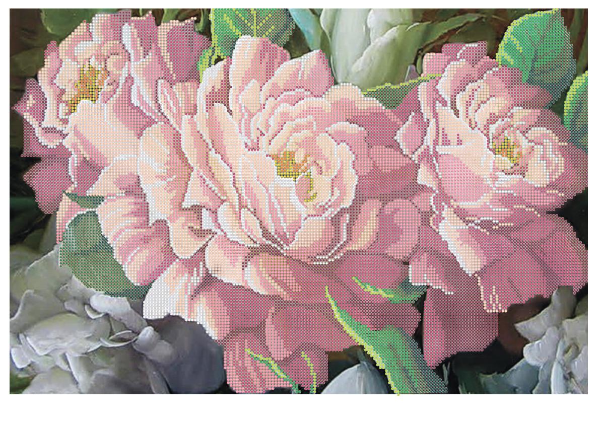 """Схема для частичной зашивки бисером - """"Розовые розы"""""""