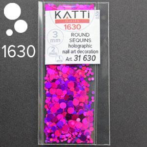 KATTi Блестки в пакете 1630 розовое вино мульти голографик круглые микс 1-2-3мм