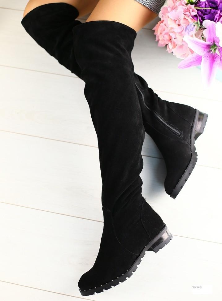 7a7e000af Модные высокие сапоги чулки зимние ботфорты женские замшевые на низком ходу  черные С40KU34-1IЕ -