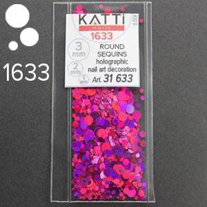 KATTi Блестки в пакете 1633 розово малиновые мульти голографик круглые микс 1-2-3мм