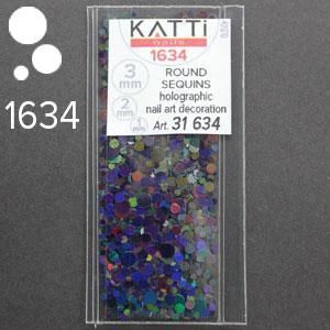 KATTi Блестки в пакете 1634 черные мульти голографик круглые микс 1-2-3мм