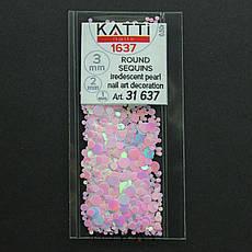 KATTi Блестки в пакете 1637 розовый единорог жемчужные круглые микс 1-2-3мм, фото 2