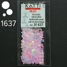 KATTi Блестки в пакете 1637 розовый единорог жемчужные круглые микс 1-2-3мм