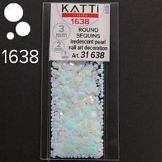 KATTi Блестки в пакете 1638 голубой единорог жемчужные круглые микс 1-2-3мм