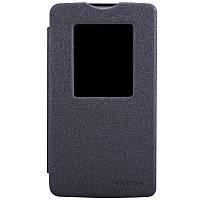 Кожаный чехол книжка Nillkin Sparkle для LG L80 Dual D380 черный, фото 1