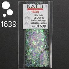 KATTi Блестки в пакете 1639 полу прозрачные радужные круглые микс 1-2-3мм