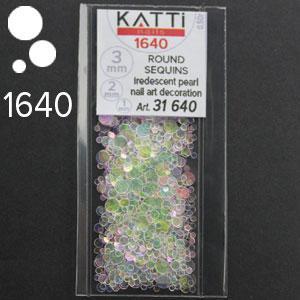 KATTi Блестки в пакете 1640 полу прозрачные радужные круглые микс 1-2-3мм