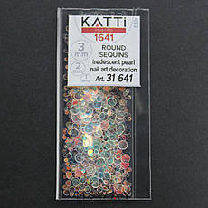 KATTi Блестки в пакете 1641 полу прозрачные радужные круглые микс 1-2-3мм, фото 2