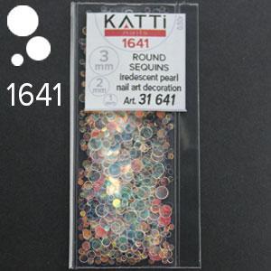 KATTi Блестки в пакете 1641 полу прозрачные радужные круглые микс 1-2-3мм