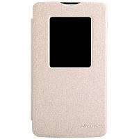 Кожаный чехол книжка Nillkin Sparkle для LG L80 Dual D380 золотистый, фото 1
