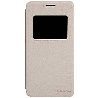 Кожаный чехол книжка Nillkin Sparkle для Asus Zenfone 5 золотистый, фото 1