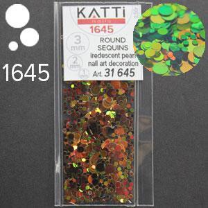 KATTi Блестки в пакете 1645 коричневые зеленые хамелеон перелив круглые микс 1-2-3мм
