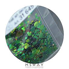 KATTi Блестки в пакете 1645 коричневые зеленые хамелеон перелив круглые микс 1-2-3мм, фото 2