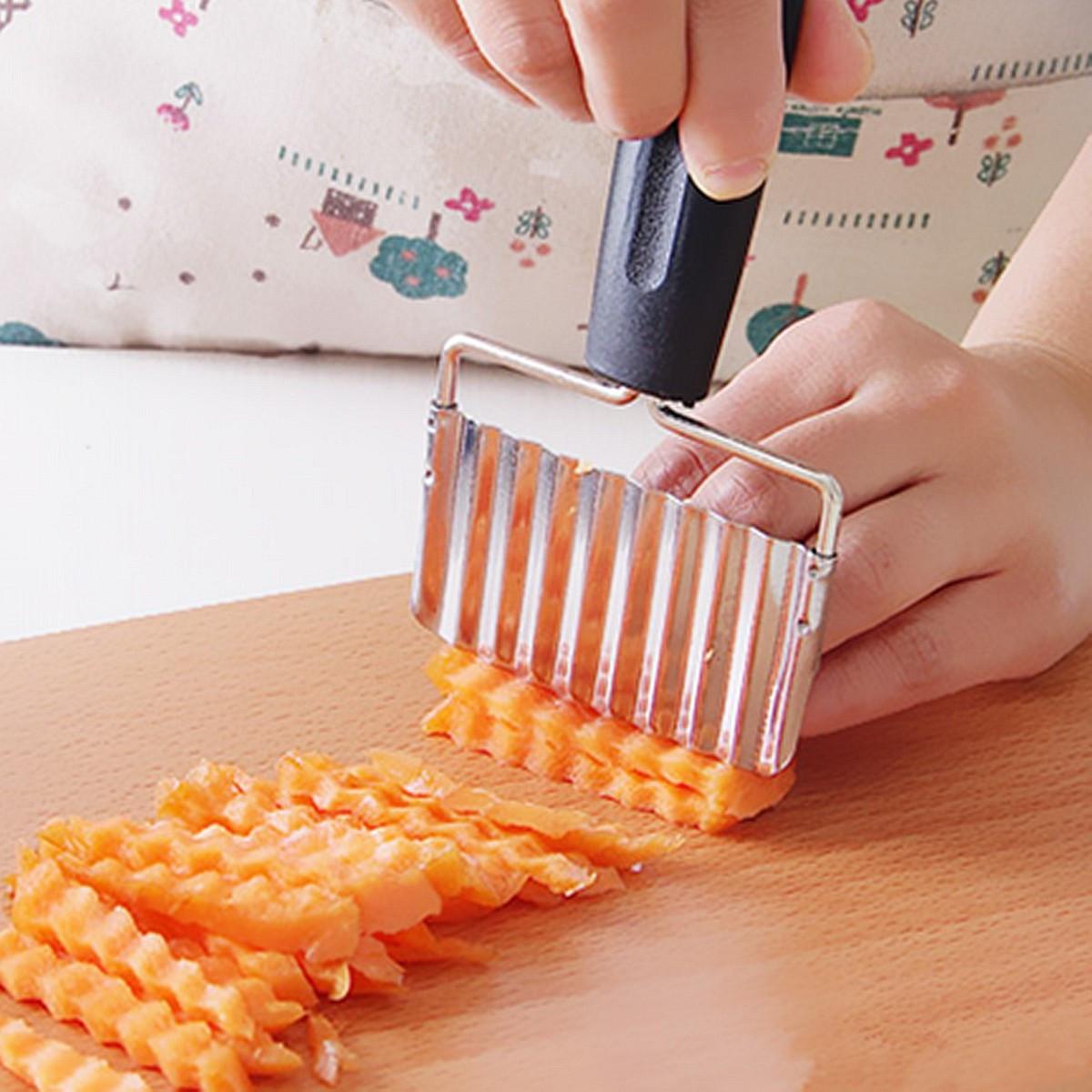 Нержавеющая сталь Ручка Картофельные Морковь Волнистые Cutter Картофель фри Чипсы Чиппер Cutter Slicer Chipper 1TopShop