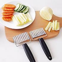 Нержавеющая сталь Ручка Картофельные Морковь Волнистые Cutter Картофель фри Чипсы Чиппер Cutter Slicer Chipper 1TopShop, фото 2