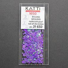 KATTi Блестки в пакете 1650 фиолетово сиреневый хамелеон салатовый перелив круглые микс 1-2-3мм, фото 2