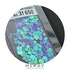 KATTi Блестки в пакете 1650 фиолетово сиреневый хамелеон салатовый перелив круглые микс 1-2-3мм, фото 3