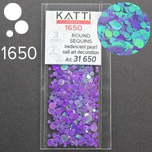 KATTi Блестки в пакете 1650 фиолетово сиреневый хамелеон салатовый перелив круглые микс 1-2-3мм