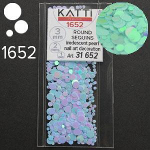 KATTi Блестки в пакете 1652 голубо сиреневый хамелеон салатовый перелив круглые микс 1-2-3мм